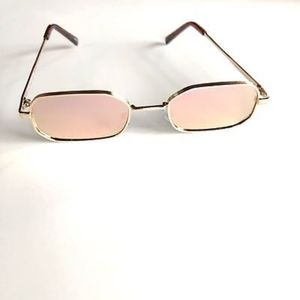 Accessories - PINK Rectangle Slim Mirrored Lens Sunglasses